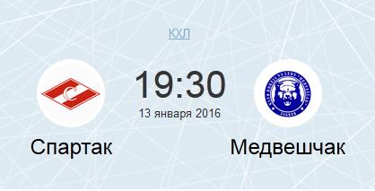 Спартак - Медвешчак (13.01.2016) КХЛ. Прямая трансляция.