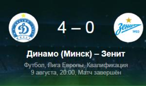 Динамо Минск — Зенит 09.08.2018